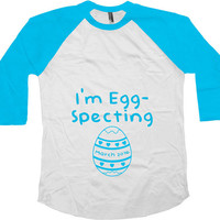 I'm Egg-Specting Pregnancy Reveal Maternity Gifts American Apparel Easter Pregnancy Announcement 3/4 Sleeve Maternity Baseball Raglan -SA579