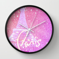 Paris in Pink Wall Clock by Veronica Ventress