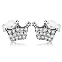 Authentic Real 925 Sterling Sliver Magic Crown Clear CZ Stud Earrings For Women Wedding Earring Jewelry Female Brincos Berloque