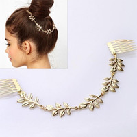 cheap-fine FASHION Hair Accessories Gold Leaf Chain With Comb Head New Headbands For Women Girl Lady