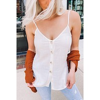 All For You Button Tank (Ivory)FINAL SALE