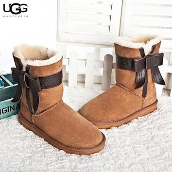 UGG Autumn And Winter Fashion New Bow Fur Shoes Keep Warm Boost Women Brown
