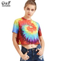 Tie Dye Print T-shirt Women Multicolor Casual Short Sleeve Summer Crop Tops New Fashion Vintage Cute T-shirt