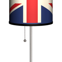 """Lamp-In-A-Box Travel Union Jack 20"""" H Table Lamp with Drum Shade"""