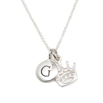 Silver Initial & Crown Charm Necklace