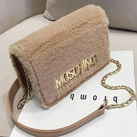MOSCHINO Women Leather Plush Bag Shoulder Bag Crossbody Satchel Khaki
