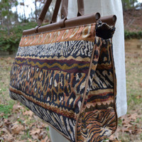Large vintage tote bag or duffel with leopard, zebra and African print