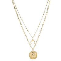 2 Layer Gold Horn & Coin Necklace
