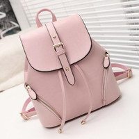 ♡ Casual Leather Backpack Fashion Schoolbag ♡