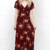 Wrapped Up in Fall Florals Maxi Dress {Burgundy}