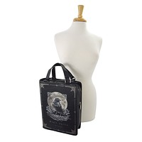 Gothic Raven Moon Magic Spells Book Shape Handbag