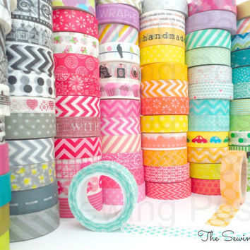 Pick 5 Whole Rolls of Assorted Washi Tapes: 159 Patterns