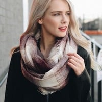 Plaid Frayed Edge Infinity Scarf | Colors