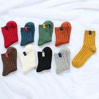 PEONFLY NEW High quality cotton warm women socks calibration tube double needle socks female boots socks 1pair