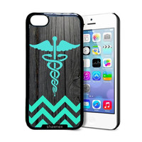 Shawnex Teal Rn Nurse Medical On Dark Wood iPhone 5C Case - Thin Shell Plastic Protective Case iPhone 5C Case