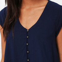 Down to Earth Navy Blue Top