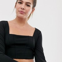 New Look crop with square neck top in black at asos.com