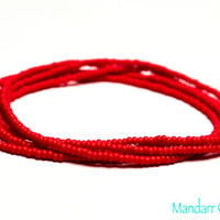Seed Bead Stretch Bracelets Set of Five, Red Beads, 7 inch, Ready to Ship Gifts for Her