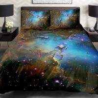 Anlye Galaxy Quilt Cover 3d Printing Galaxy Duvet Cover Galaxy Never Fade Sheets Space Sheets Outer Space Bedding Set with 2 Matching Pillow Covers (FULL)