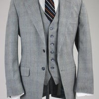 Vintage Botany 500 Gray Check/Plaid Wool 3 Piece Suit 40 R