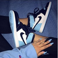NIKE Air Jordan 1 AJ new hot sale stitching couple high-top sneakers