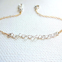 Small Sterling Silver Heart Link Bracelet or Anklet - Mixed Metals; Gold Fill; Rose Gold; Personalized; Gift for Her; Micro Heart Bracelet