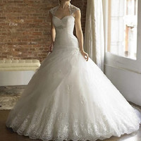 Elegant A-line Wedding dresses white or ivory bridal gown halter applique Custom Size