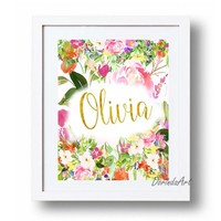 Girls Names printable Customized gifts for Baby Girl Personalized Girl gifts Watercolor floral Name wall art print Baptism gift Christening