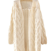 Beige Crochet Knitted Cardigan