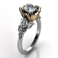 14k two tone white and yellow gold diamond unusual unique floral engagement ring, bridal ring, wedding ring ER-1033-4