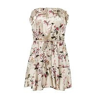 Summer Sexy Strapless Flower Printed Ruffle Satin Rompers