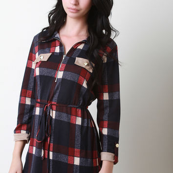 Crest Buttons Flannel Shirt Dress