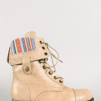 Bamboo Surprise-01N Aztec Cuff Military Lace Up Boot
