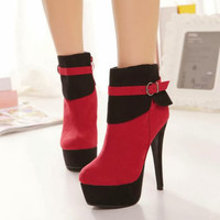 New HOT Women's High Heel Platform Shoes Fashion Ankle Boots Bootie Suede Buckle