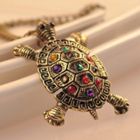 Colored Vintage  Rhinestone Tortoise Sweater Necklace Long Chain