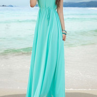 Blue Bohemian Chiffon Dress