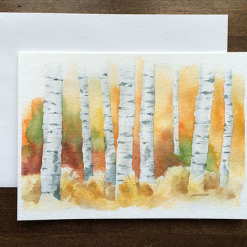 Birch Trees Watercolor Painting - Greeting Card - 5 x 7 - Autumn Fall