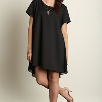Plus Size Short Sleeve A-Line Hi-Lo Dress- Black
