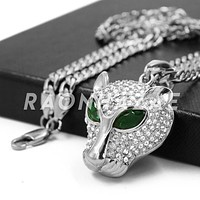Stainless Steel Silver Emerald Eyed Panther Pendant w/Cuban Chain