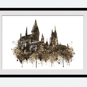 Hogwarts castle poster Harry Potter watercolor print Harry Potter poster Hogwarts colorful print Home decoration Wall hanging decor  W433