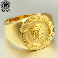 Versace Fashion New Human Head Ring Men Golden