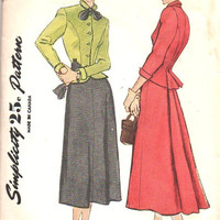 Simplicity 2605 Sewing Pattern 1940s Two Piece Dress Suit Peplum Fitted Jacket Godet Flared Skirt Hollywood High Fashion Bust 34