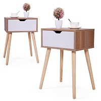 """JAXSUNNY Mid-Century Solid Wood Legs Side Table, Bedside Table Nightstand End Table, with White Storage Drawer 23.1"""" H - Set of 2 in Walnut"""