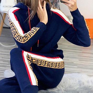 Fendi new fashion more letter string mark sports leisure long sleeve top sweater and pants two piece suit women Dark Blue