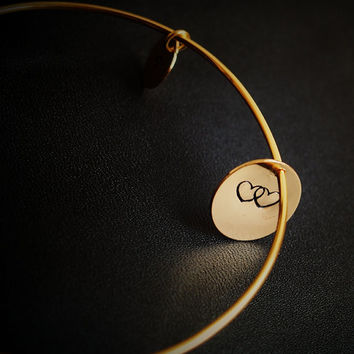Bangle bracelet,18k gold, Heart to heart hand stamped bracelet, Personalized bangle bracelet with 2 tags, name stamped necklace