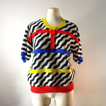 Vintage Women's Sweater - Geometric - Zebra - Slouhy Sweater - Colorful - Hipster - Size M