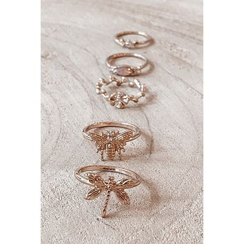 Float Away Gold Dragonfly Ring Set