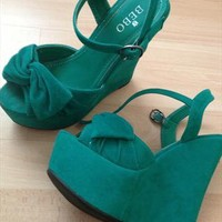 Chunky Green Wedges with Strap from chen2