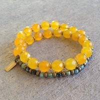 Joy and Change, Faceted Yellow Jade and African Turquoise 27 Bead Wrap Mala Bracelet