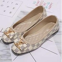 Louis Vuitton LV plaid flat shoes Big logo canvas women sandals shoes G-YJBD-2H